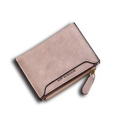 Sale 17% (11.11$) - Women Vintage Short Wallet Lady Letter Zipper Short Clutch Wallet Solid Vintage Card Holder