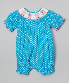 Love this Turquoise Polka Dot Bubble Romper - Infant by Molly Pop Inc. on #zulily! #zulilyfinds
