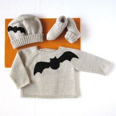 A knitted baby set for the Halloween 100 wool by tenderblue, $80.00