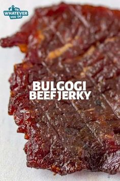 Bulgogi Beef Jerky This simple Korean BBQ dish cooks in less than 30 minutes, and doesn't have a bunch of crazy ingredients that you don't have access to or can't easily obtain. Korean Beef Jerky Recipe, Beef Jerky Marinade, Smoked Beef Jerky, Beef Jerkey, Best Beef Jerky, Homemade Beef Jerky, Venison Jerky, Homemade Sushi, Brisket
