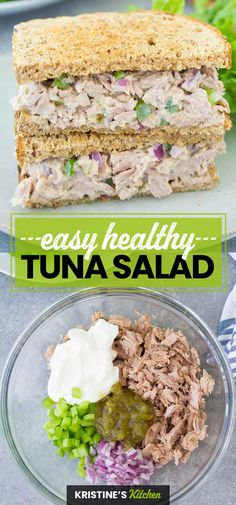 The best healthy tuna salad recipe! This easy tuna salad is made with no mayo. It's perfect to make ahead for a sandwich for lunch! #tunasalad #lunchideas Easy Tuna Salad, Healthy Tuna Salad, Easy Healthy Recipes, Lunch Recipes, Dinner Recipes, Slow Cooker Recipes, Crockpot Recipes, Sandwiches For Lunch, Lunch Meal Prep