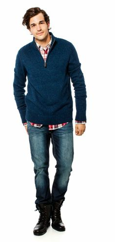 Mix a great eye popping plaid under a sweater with jeans - easy styling at bootlegger.com