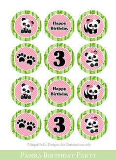 Birthday Cupcake Toppers 3rd Birthday Panda Birthday