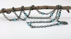 Boho layering necklace with sterling silver and Aquamarine gemstones Rustic and earthy jewelry https://www.etsy.com/listing/468922096/bohemian-layering-necklace-wire-wrapped