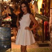 A-Line Jewel Sleeveless Short Ivory Pleated Satin Prom Homecoming Dress