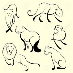 Vector Illustraition Of Lion Design Set Made With Simple Line.. Royalty Free Cliparts, Vectors, And Stock Illustration. Image 4703604.