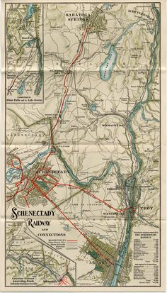 Mid-century Map Schenectady County New York Vintage History Wall Art Poster