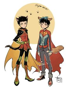 Damian Wayne!cat and Jon Kent!dog