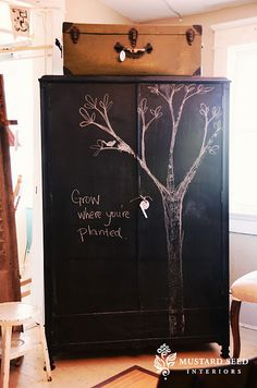 Chalkboard Painted Wardrobe Idea For Built Ins In The Study Wooden