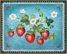 strawberry art by Gregory Gorham Vintage Images, Vintage Designs, Strawberry Art, Strawberry Fields, Strawberry Decorations, Decoupage Printables, Arts And Crafts, Paper Crafts, Label Paper