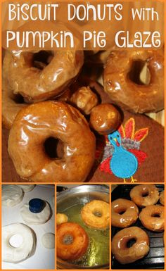 Biscuit Donuts with Pumpkin Pie Glaze - easy to make fried and glazed fall donuts! /pillsbury/ @Pills
