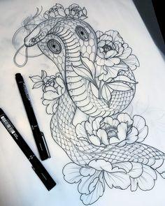 T-shirts with prints on the theme of tattoos, barbering, men's style, hipsters Tattoo Design Drawings, Tattoo Sketches, Tattoo Designs, Leg Tattoos, Body Art Tattoos, Sleeve Tattoos, Tattoo Ink, Kobra Tattoo, Japanese Snake Tattoo