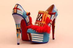 Christian Louboutin shoes decorated by Jamie Okuma. Kitenge, Ankara, Native American Fashion, Native Fashion, Style Ethnique, Decorated Shoes, Classic Chic, Shoe Art, Tribal Fashion