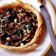 spinach or kale, mushroom and pinenut tart (made the low chol way with