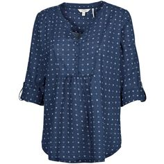 Fat Face Juniper Geo Popover Blouse , Navy ($50) ❤ liked on Polyvore featuring tops, blouses, navy, cotton jersey, cotton blouse, fat face, navy blouse and navy blue blouse