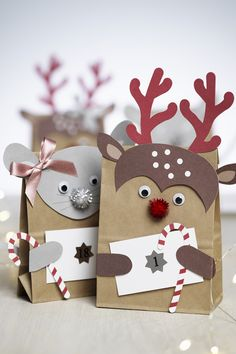 Make cute animal bags to use as a Christmas Calendar this year. Christmas Calendar, Diy Advent Calendar, Christmas Paper, Winter Christmas, Handmade Christmas, Christmas Crafts, Christmas Animals, Diy And Crafts, Crafts For Kids