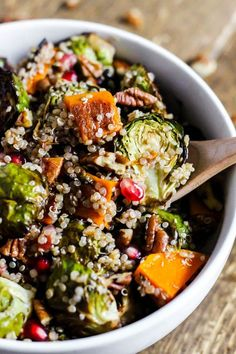 Enjoy the comforting flavors of the season in this Fall Brussels Sprouts Quinoa Salad! It's sweet and salty in a healthy side dish. (vegan & gluten-free)