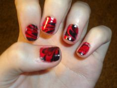 Easy Nail Art With Black And Red ~ Nail art cool design idea with black and red color easy quick. Classic red and black nail art designs. Classic red and black nail art designs. Red and black comical . Cute Easy Nail Designs, Best Nail Art Designs, Nail Polish Designs, Red Nail Art, Red Nails, Easy Nail Art, Cool Nail Art, Cute Simple Nails, Nail Art Design Gallery