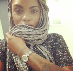 Gray box braids with weave