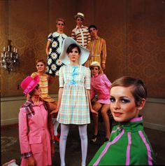 Twiggy and other models in mod fashions, 1960s.