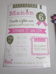 Top carte d'invitation anniversaire fille 10 ans à imprimer  CZ09