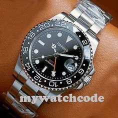 Parnis 40mm Mostrador Preto Vidro Safira chanfradura de cerâmica Gmt Automático Relógio Masculino 338