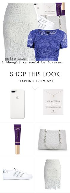 """""""10-09-2016."""" by trillestqueen ❤ liked on Polyvore featuring Dogeared, Too Faced Cosmetics, Chanel, adidas Originals, Chicwish and Topshop"""