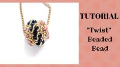 "Seed bead jewelry ""Twist"" Beaded Bead ~ Seed Bead Tutorials Discovred by : Linda Linebaugh Seed Bead Tutorials, Jewelry Making Tutorials, Beading Tutorials, Beaded Brooch, Beaded Earrings, Beaded Bead, Beaded Bracelets, Beaded Jewelry Patterns, Baby Dresses"