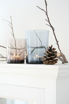 smoked glass votives and natural decorations
