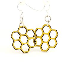 Wood Earrings- Honeycomb