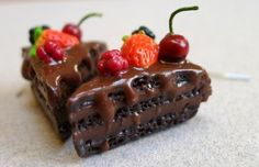 Miniature chocolate cake with friuts earrings.