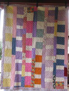 Offset Blocks Antique Vintage Quilt
