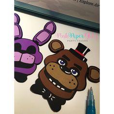 Five Nights at Freddy's Die-Cuts #fnaf #fivenightsatfreddys #fivenightsoffreddyscake #fnafbonnie #fnafbirthday #birthdayparty #favorbags #pinkpaperglitz