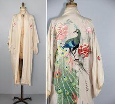 1920s silk robe / antique kimono / embroidered / PEACOCK vintage japanese kimono