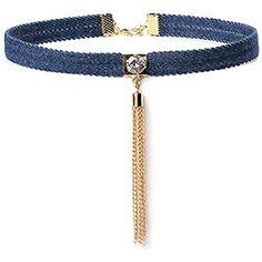 Women Accessories, Jewelry Accessories, Jewelery, Jewelry Necklaces, Diy Choker, Blue Choker, Denim Crafts, Fabric Necklace, Handmade Jewelry Designs
