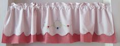 Red Check Retro Valance Upcycle Linens Vintage by BettyandBabs, $45.00