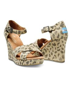 MINE for spring! :) Look what I found on #zulily! Leopard Burlap Wedge Sandal by TOMS #zulilyfinds