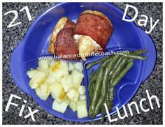 21 Day Fix Lunch: Sweet Bacon Wrapped Chicken Breasts (1 red), red potatoes cooked in EVOO (1 yellow), green beans (1 green)  Recipe for chicken ------> http://www.balancedforlifecoach.com/sweet-bacon-wrapped-chicken-breasts/