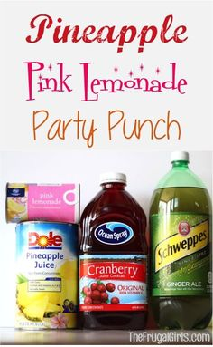 Pineapple Pink Lemonade Party Punch Recipe ... This needs some coconut rum added to it ;)