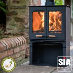 Ecosy+ Panoramic Twin Door Defra Approved 5kw Eco Design Ready (2022) - Woodburning Stove - 5 Year Guarantee - With Stand Stove Accessories, Multi Fuel Stove, Air Supply, British Standards, Traditional Fireplace, Chrome Handles, Clever Design, Woodburning, Wood Doors