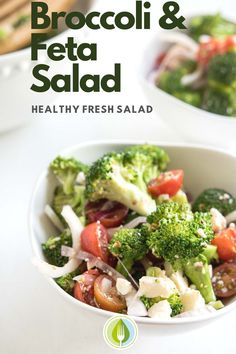 Summer fresh lunch salad! Love this broccoli salad with feta and cherry tomatoes.  Perfect for packing lunch and meal prep. #mealprep #easyrecipe #lunch