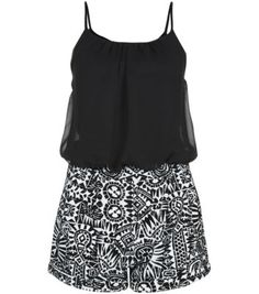 Cameo Rose Black Strappy Aztec Playsuit