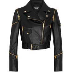 Boutique Moschino Black Cropped Zip-embellished Leather Jacket (660 CAD) ❤ liked on Polyvore featuring outerwear, jackets, motorcycle jacket, black cropped jacket, black jacket, black moto jacket and biker jacket