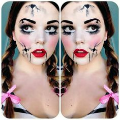 Who wants to be a broken doll for Halloween? 👻 Inspo via Rag Doll Makeup, Broken Doll Makeup, Cracked Doll Makeup, Scary Doll Makeup, Broken Doll Halloween, Broken Doll Costume, Baby Boy Halloween, Halloween Tutorial, Halloween Inspo