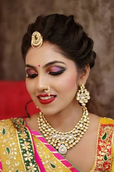 "Orange The Salon ""Portfolio"" album - Bridal Makeup - Bride Wearing a Gold Choker with a Pink and Black Smokey , Gold Jewelry Tikka. Bridal Hairstyle Indian Wedding, Unique Wedding Hairstyles, Bridal Hair Buns, Indian Wedding Hairstyles, Bride Hairstyles, Hairstyle Ideas, Bridal Eye Makeup, Indian Bridal Makeup, Bridal Makeup Looks"