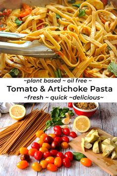 Recipes Pasta Looking for something quick? Try this easy fresh tomato & artichoke pasta recipe. 6 familiar plant-based ingredients come together in 1 pan while your pasta cooks to create the kind of healthy dish that will put a smile on your face. Healthy Pasta Recipes, Healthy Pastas, Healthy Dishes, Lunch Recipes, Whole Food Recipes, Vegetarian Recipes, Plant Based Diet Meals, Plant Based Whole Foods, Plant Based Eating