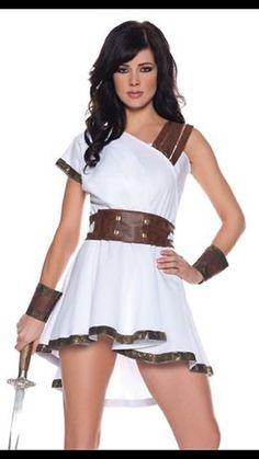 Greek Warrior Goddess Adult Roman Toga Costume Large | eBay