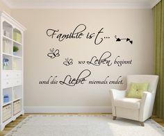 Wandtattoo Spruch Familie ist wo leben beginnt.. von MEG-Wandtattoos/Wall-Sticker auf DaWanda.com