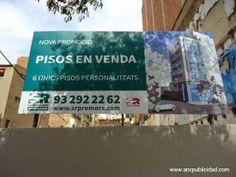 Valla de publicidad de medidas 6,40x3 mts instalada en la ciudad de #Barcelona