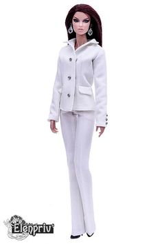 ELENPRIV ivory classic jacket with full polyester lining for